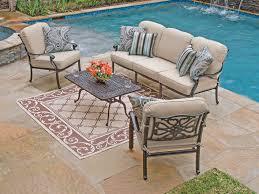 orleans 4 pc cast aluminum sofa group with spectrum sand sunbrella