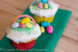 Simple Easter Cupcake Decorations by Easter Basket Cupcakes