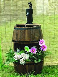 wood barrel water fountain water fountains fountain and outdoor