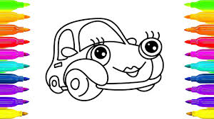 how to draw car coloring book for kids drawing and learning