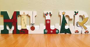 christmas letter art hand painted wood letters holiday home