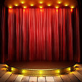 Curtains On A Stage Stock Images Of Red Fabric Curtain On Golden Stage K13718766