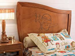 Childrens Bedroom Pillows Bedroom Cool Brown Wooden Pirate Cartoon Kids Bed Headboard And