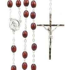 mens rosary 25 inch silver men s rosary with brown