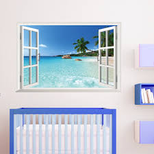 hawaii home decor promotion shop for promotional hawaii home decor 2017 new creative fashion hawaii style false windows 3d home decoration wall stickers living room 3d stickers bedroom wallpaper