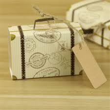 rustic wedding favors wholesale 200pcs kraft paper trunk candy box with gift tag travel