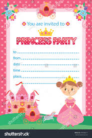 Card Party Invitation Princess Birthday Party Invitation Template Card Stock Vector