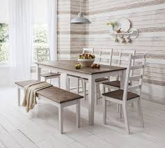 gray dining table with bench furniture charming white table with bench and chairs for your home