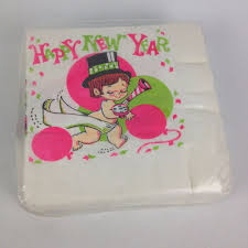 vtg 50ct sealed happy new year baby nos paper cocktail napkins 70s