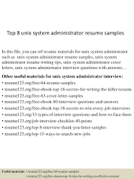 Systems Administrator Resume Examples by Top8unixsystemadministratorresumesamples 150512214738 Lva1 App6892 Thumbnail 4 Jpg Cb U003d1431467305