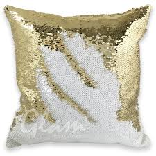 white gold reversible sequin glam pillow glam pillows