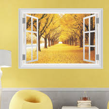 online get cheap 3d maple tree wall murals aliexpress com large maple boulevard landscape tree 3d window view removable wall stickers for living room bedroom art sticker decal mural