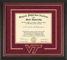 tech diploma frame virginia tech diploma frame gold lip w vt 3d cut out maroon