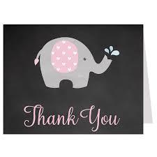 chalkboard elephant pink thank you card u2013 the invite lady