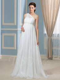 wedding dresses maternity one shoulder pearls beading empire waist maternity wedding dress