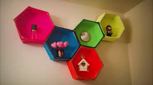 Diy Honeycomb Shelves by Diy Cardboard Hexagon Floating Shelves Youtube