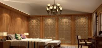 bedroom wood wall design render by indian style 3d house
