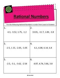 comparing and ordering rational numbers activity