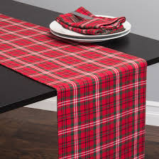 linen tablecloth holiday plaid table runner red and green