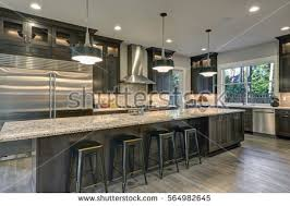 oversized kitchen islands modern open plan gray kitchen features stock photo 557517382