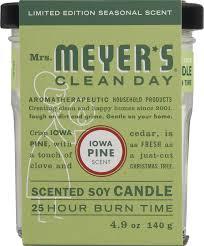 mrs meyer u0027s clean day glass candle iowa pine 4 9 oz walmart com