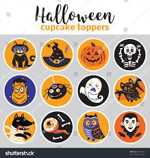 cupcake toppers halloween vector illustration cartoon stock vector
