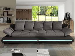 canapé 4 places design canapé 4 places convertible en tissu et simili à leds mattias noir