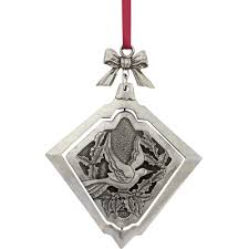 two turtle doves spinning pewter ornament handcrafted in vermont