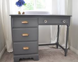 grey desk with drawers an old desk gets a whole new look suburble