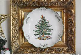 thrifted spode tree plate cottage magpie