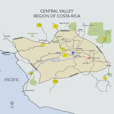 Map Of San Jose Costa Rica by Costa Rica Central Valley Map Map