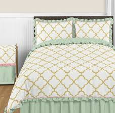 Gold Bed Set Gold Mint Coral And White 3pc Bedding