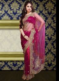 resham embroidery in jaal work makes indian clothing charming paisley charm magenta shimmer net saree indian