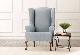 sure fit slipcovers wing chair sure fit slipcovers stretch vintage crosshatch wing chair slipcover