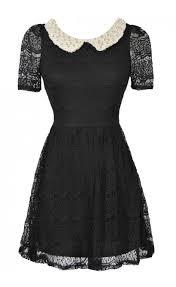 black lace peter pan collar dress embellished peter pan collar