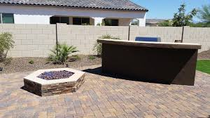 How To Build A Stone Firepit by Built In Barbecues Fireplace Az Living Landscape Call 480 390 4477