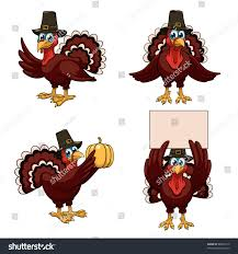 four thanksgiving turkeys pilgrim hats stock vector