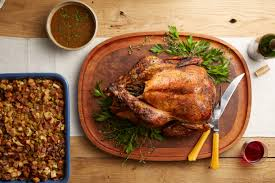 cooking turkey night before thanksgiving garlic aioli roasted turkey with lemon parsley au jus recipe