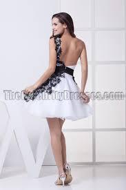 graduation white dresses white and black backless one shoulder party graduation dresses