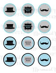 little man mustache baby shower little man cupcake toppers baby shower round tags circle tags