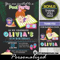 water park party cupcake toppers personalized favor tags d3
