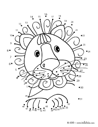 connect the dots lion lion simple dot to dot coloring pages for