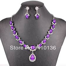 silver purple necklace images Pn12534 fashion purple jewelry sets wedding jewelry silver plated jpg