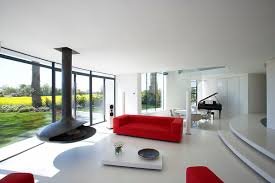 Minimalist Living Room by Interior Plush Red And White Interior Design Of Studio Apartment