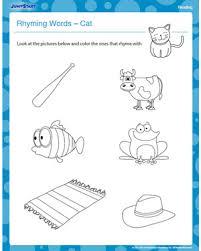 printable rhyming words rhyming words cat free kindergarten reading worksheet jumpstart