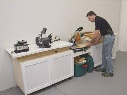 Table Saw Cabinet Plans Space Saving Miter Saw Station Woodworking Blog Videos