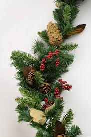 pine cone berry garland with burlap bows 6ft