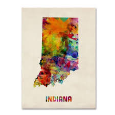 State Of Indiana Map by Michael Tompsett U0027indiana Map U0027 Canvas Art By Trademark Fine Art