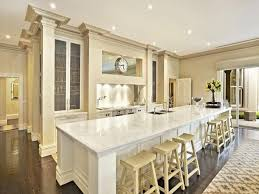 long kitchen island home design