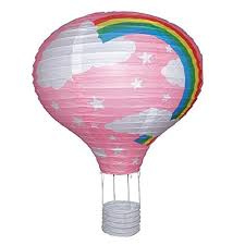 air balloon ceiling light rainbow balloon light shade pink paper lantern bedroom https